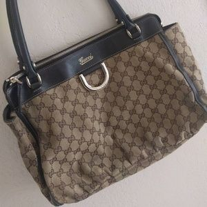 GUCCI Brown Canvas and Leather Tote Bag